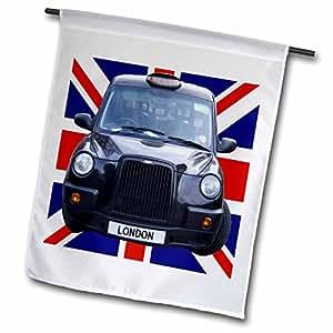 3dRose Fl_113050_1 London Black Taxi Cab on British Flag Union Garden Flag, 12 by 18-Inch