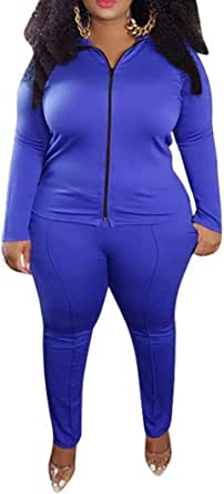Women's Plus Size Two Piece Tracksuit Set Long Sleeve Zipper Jacket with Sweatpants Sweatsuit Jogger Workout Set