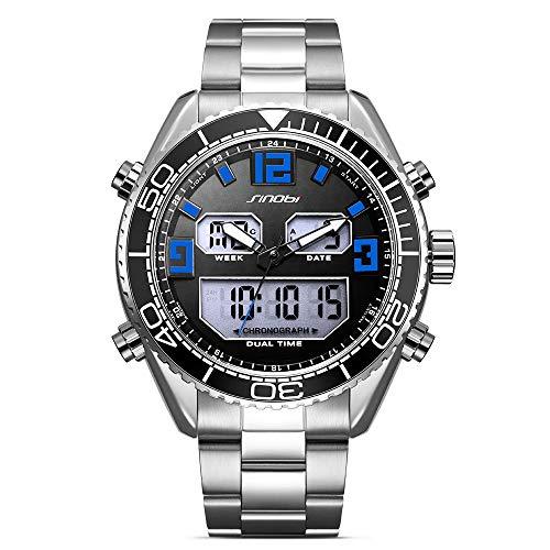 KIM88 Mens Swiss Quartz Stainless Steel Sport Watch,Sinobi Luxury Fashion Classic Double Display Dial Stainless Steel Strap Men's Watch