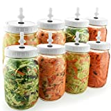 FermentEm 8-Piece Fermenting Kit: Mold Free Wide Mouth Mason Jar Fermentation Lids - Waterless Airlock System