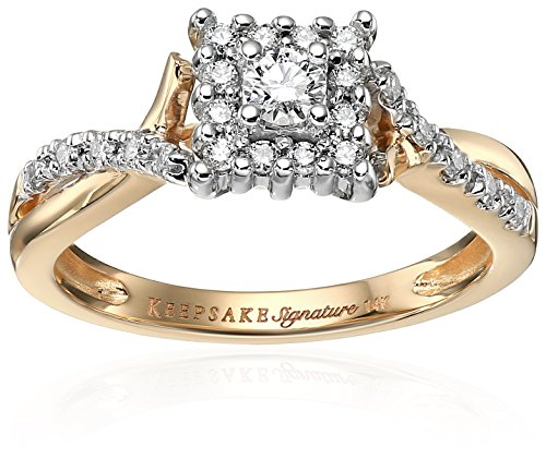 Keepsake Signature 14k Yellow Gold Diamond Twist and Halo Engagement Ring (1/3cttw, H-I Color, I1 Clarity), Size 8