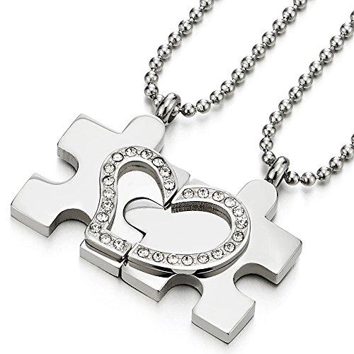 4dea3b692d39 Caliente de la venta Par Corazón Un Rompecabezas de Collar con Zirconia