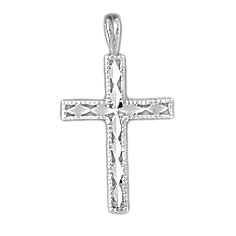 Rhodium-plated 925 Silver Latin Cross Pendant with 16 Necklace Jewels Obsession Cross Necklace
