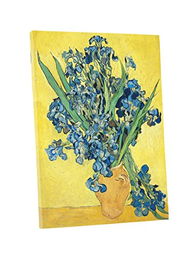 Niwo Art (TM) - Vase with Irises Yellow Background, by Vincent van Gogh - Oil painting Reproduction -Giclee Canvas Prints Wall Art for Home Decor, Stretched and Framed Ready to ()