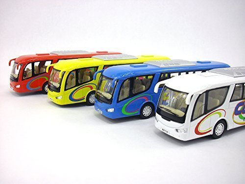 (Coach Bus Diecast Metal Scale Model - SET of 4 BUSES, Red, Blue, White and Yellow )