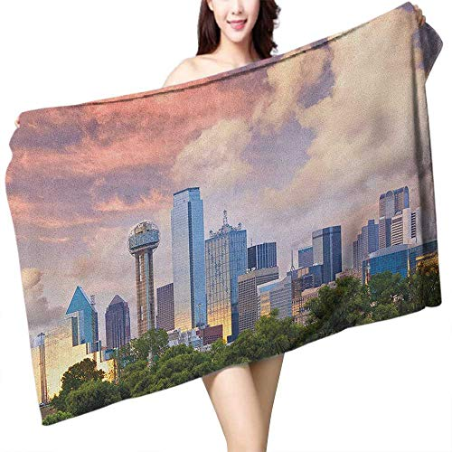 homecoco Beach Towel United States Dallas City Skyline at Sunset Clouds Texas Highrise Skyscrapers Landmark W12 xL35 Suitable for bathrooms, Beaches, Parties ()