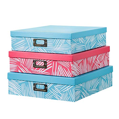 SLPR Decorative Storage Cardboard Boxes with Metal Plate (Set of 3, Coral and Blue) | Nesting Gift Boxes with Lid for Keepsake Toys Photos Memories Closet Nursery Office Bedroom Decoration