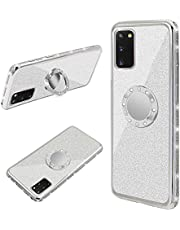 Cestor Ring Holder for Samsung Galaxy A21s Glitter Silicone Phone Case Bling Protective Bumper with Kickstand Diamond Plating Frame TPU Case for Samsung Galaxy A21s,Silver