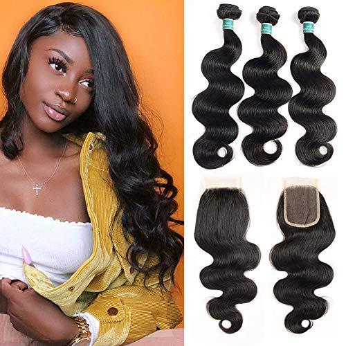 ALI GRACE Brazilian Body Wave Unprocessed Remy Human Hair Extensions 3 Bundles with 4x4 Lace Closure Natural Black Color (18
