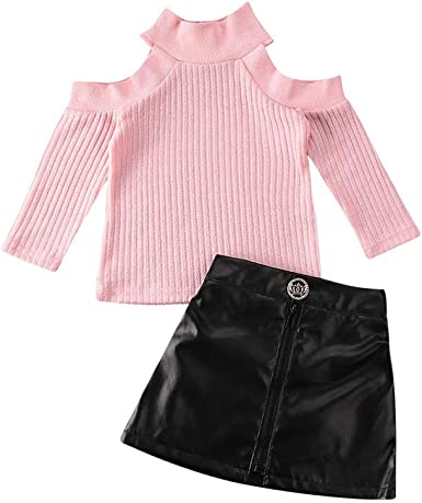 Toddler Girl Clothes Long Sleeves Knit Top Leather Skirt Set Toddler Girl Spring Fall Winter Outfit 1-6T