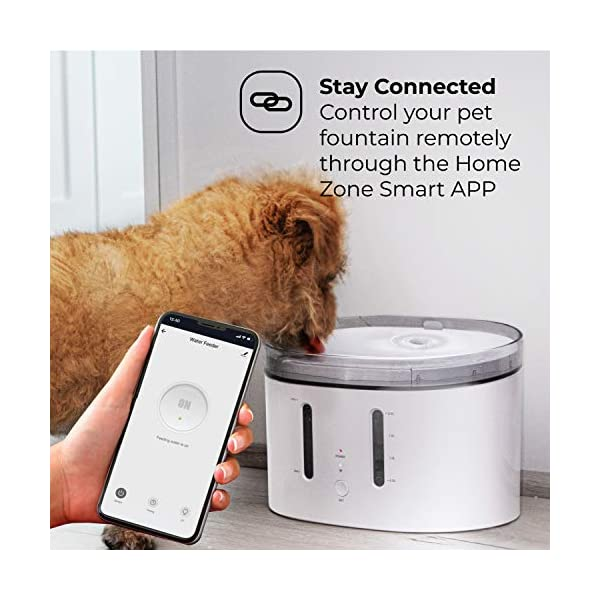 Home Zone Pet Water Fountain - Smart Wireless Water Fountain for Small Cats and Dogs, 2L 2