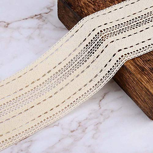 VU100 Cotton Lace Trim Fabric Ribbon for Sewing 2 Yards,2-1/4 Inch Wide Lace Trim Beige Vintage, for DIY Crafts Quilting Clothing
