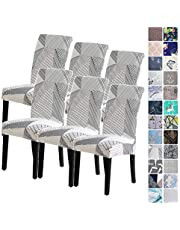 6Pack Chair Covers for Dining Room, Seat Protector Stretch Removable, Soft Spandex Decoration Seat Slipcovers for Home Dining Room Hotel Ceremony Banquet Wedding Party