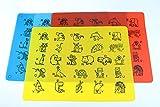 Platzset für Kinder, Silikon Tischset 4 Stück - Platzdeckchen/Platzmatten im 4er Set - Tischunterlage mit ABC und Tieren - Blau, Rot, Helblau und Gelb