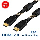 HDMI 2.0 Cable, HISVISION High Speed 18Gbps 6ft with Ethernet Golden Plating Copper Connector and Magnet Ring - Braided Cord - 4K 4096×2160P 60HZ Compatible with HDTV PS3 xBox DVD (Latest Standard)