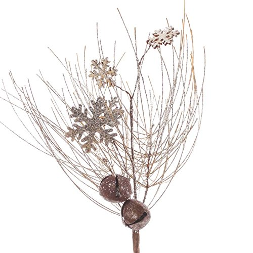Factory Direct Craft Group of 4 Sparkling Rustic Platinum Artificial Pine and Jingle Bell Sprays for Holiday and Home Decor