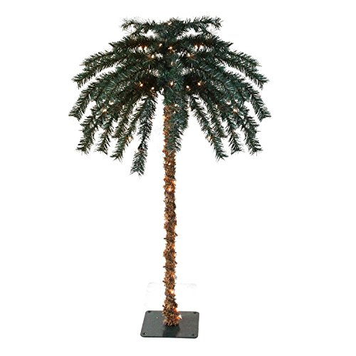 Palm Tree Clear Lights (6' Pre-Lit Tropical Outdoor Summer Patio Artificial Palm Tree - Clear Lights)