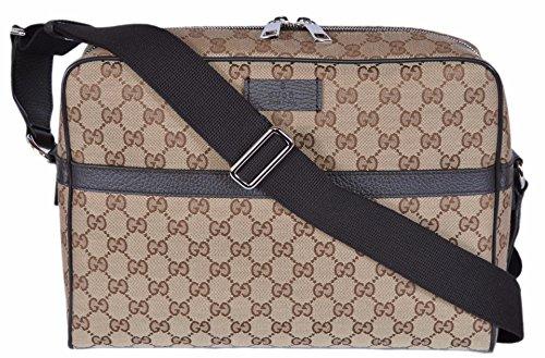 Gucci Mens Messenger (Gucci Canvas GG Guccissima Camera Case Messenger Bag (Beige/Brown))