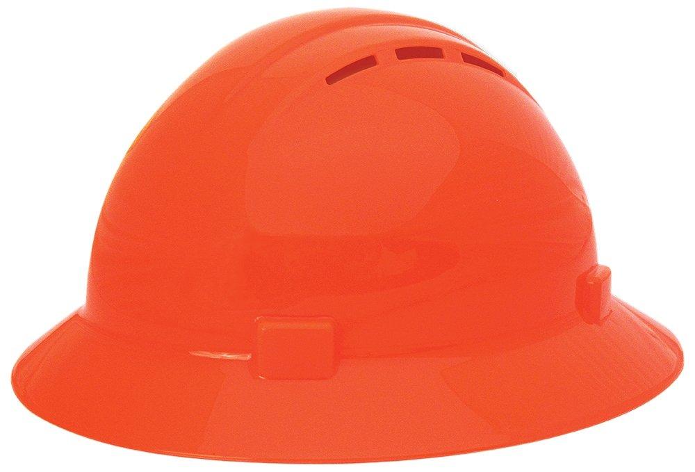 Adjustable White 6.5 x 8 Polyethylene ERB Safety 039-19331 Americana Full Brim Vent Standard Hardhats