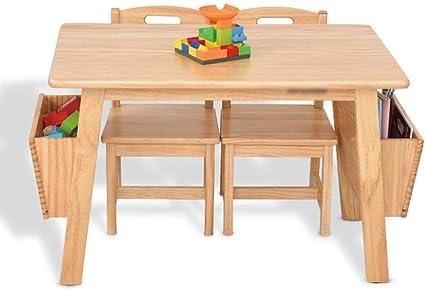HHXD Tavoli e Sedie per Bambini in Legno Massello,Tavolino