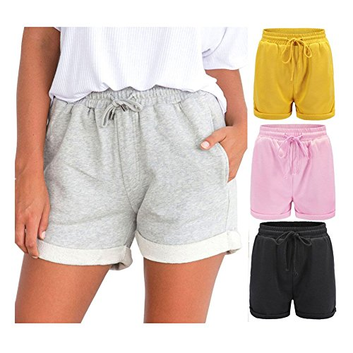 Clearance Sale!FarJing Women Hot Pants Casual Loose Shorts Beach High Waist Short Trousers(S,Yellow )