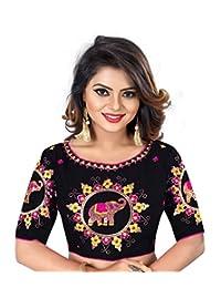 Indian Pakistani Designer Banglori Silk Black Readymade Blouse for Sarees