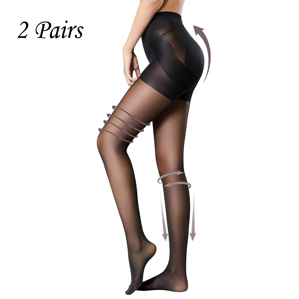 HONENNA 2 Pair Compression Shaping Pantyhose Control Top Semi Opaque Tights Push Up HN14018-Black-S