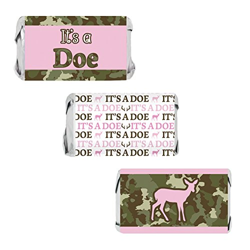 It's a Doe Girl Baby Shower Miniatures Candy Bar Wrapper Stickers - Camouflage and Pink (Set of (Candy Bar At Baby Shower)