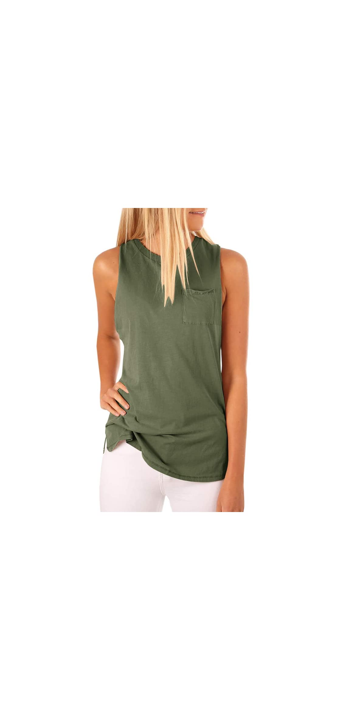 Women's High Neck Tank Top Sleeveless Blouse Plain T Shirts Cami