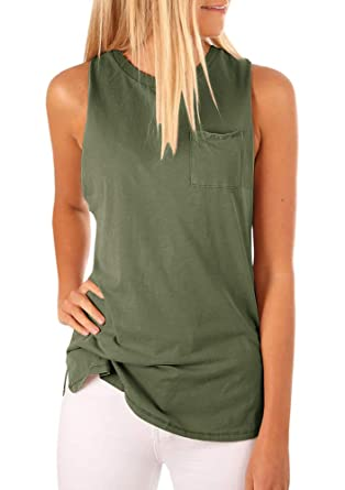 23ff2be47fa44 Women's High Neck Tank Top Sleeveless Blouse Plain T Shirts Pocket Cami  Summer Tops Army Green