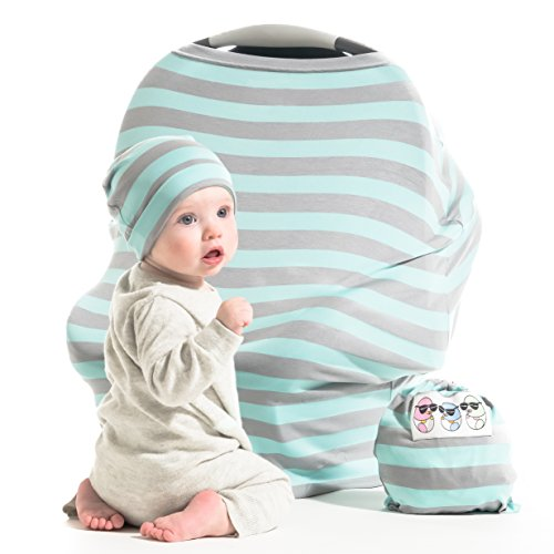 Baby Car Seat Cover Gift Set - Stretchy Multi Use Canopy for (Kowalli Baby Carrier Cover)