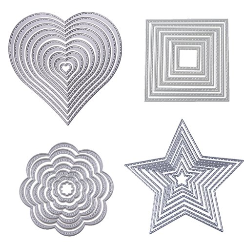 Heart Stitched Square Flower Love Star Nesting Metal Embossing Stencils for DIY Scrapbooking Photo Album Decorative DIY Paper Cards Making Gift Debossing Border 4set (Set 1) ()