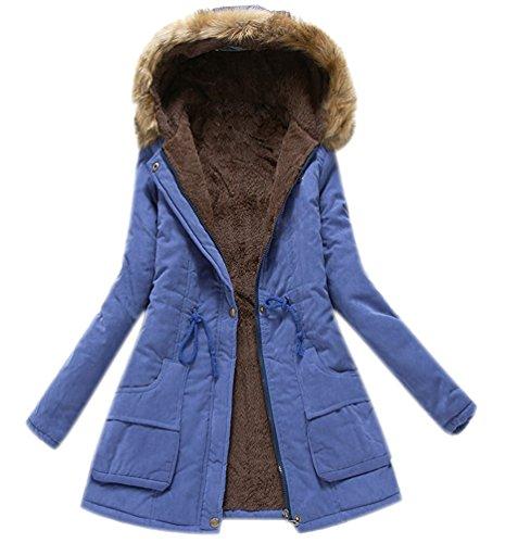 Manteau Bleu Fille Militaire paissir Mode Chaud Minetom Parka Peluche Femme Hiver Manches Longue Style Capuche avec UxWIfZq