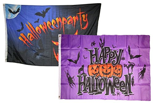 ALBATROS 3 ft x 5 ft Happy Halloween 2 Pack Flag Set Combo #12 Banner Grommets for Home and Parades, Official Party, All Weather Indoors Outdoors