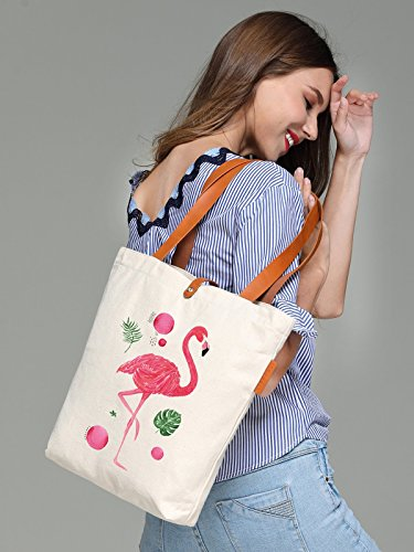 So'each Women's Animal Flamingo Graphic Top Handle Canvas Tote Shoulder Bag