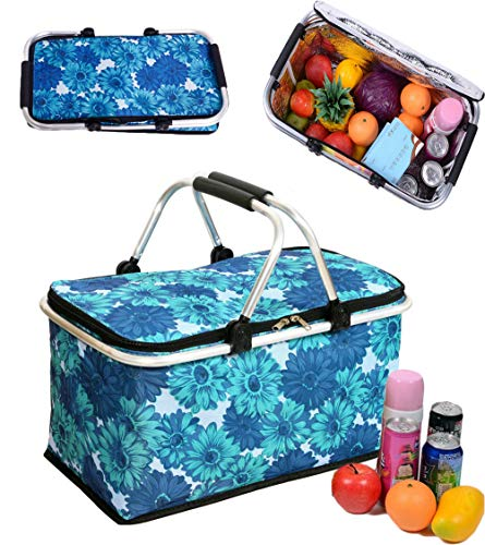 Cocobuy Collapsible Insulated Picnic Bag Insulated Lunch Tote Grocery Shopping Basket Market Tote Carry Basket with Insulated Cooler Compartment (Blue 2) ()