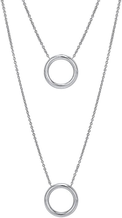 Sterling Silver Rhodium Plated Graduated Circle Discs Layered Pendant Necklace 16 Inches