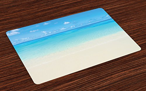 Ambesonne Ocean Place Mats Set of 4, Paradise Beach in Tropical Caribbean Sea with Sky View Beach House Theme, Washable Fabric Placemats for Dining Table, Standard Size, Cream Navy