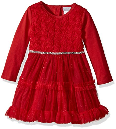 (Youngland Baby Girls Rose Mesh Tulle Dress and Sparkle Waistband, red 12M)