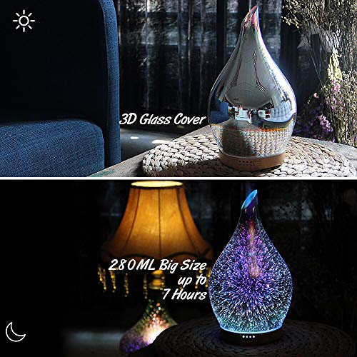 280ml Essential Oil Diffuser 3D Glass Aromatherapy Ultrasonic Humidifier - 7 Color Changing LEDs, Waterless Auto-Off,Timer Setting, BPA Free for Home Hotel Yoga Leisure SPA Gift by MELLER (Image #3)
