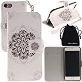 DRUnKQUEEn iPhone 7 Case, Wallet Purse Type Leather Credit Cards Case with Cellphone Holder Flip Cover for Apple iPhone7 - Hand Strap Included