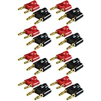"GLS Audio Gold Banana Plug Speaker Connectors Dual Tip Banana Plugs Banana Clips - NOTE: .75"" Tip to Tip (3/4"") - 16 Pack (8 Red & 8 Black)."