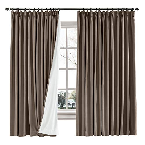TWOPAGES 52 W x 102 L inch Pinch Pleat Blackout Curtain for Bedroom Cotton Blend Room Darkening Blackout Curtains with Interlining, (1 Panel, Brown)