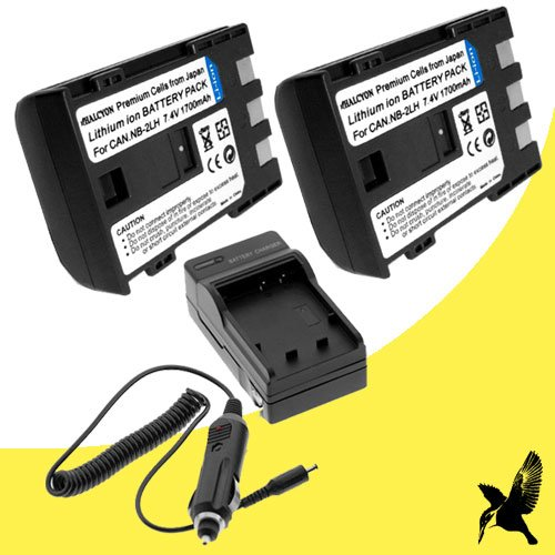 Two Halcyon 1700 mAH Lithium Ion Replacement Battery and Charger Kit for Canon VIXIA HV30 HDV 2.96MP Digital Camcorder and Canon - Camcorder 2lh Nb