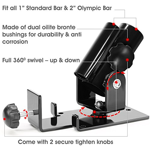 """Yes4All Deluxe T Bar Row Platform – Full 360° Swivel & Easy to Install – Fits 1"""" Standard and 2"""" Olympic Bars"""