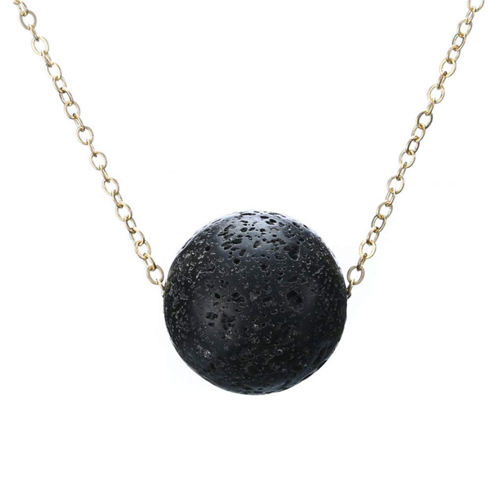 Iumer Lava Bead Stone Shape Pendant Essential Oil Diffuser Necklace,Ball