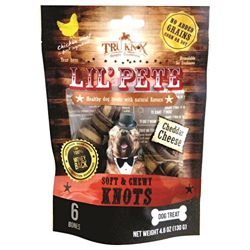 TruKnox Lil' PETE Knots Soft & Chewy NO Rawhide Grain Free, Corn Free, Soy Free - Natural and Healthy Dog Treat with Cheddar Cheese - 6 Bones 4.6 oz | Human-Grade Chicken is # 1 Ingredient