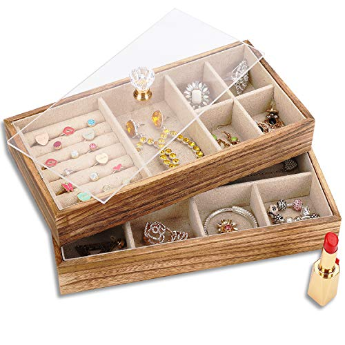 Keebofly Jewelry Tray with Lid Rustic Wood