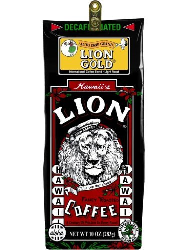 Hawaiian Lion Gold Coffee Ground Decaf 10 oz. Bag
