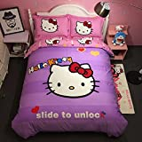 CASA 100% Cotton Kids Bedding Set Girls Hello Kitty the First Duvet cover and Pillow cases and Flat sheet,girls,4 Pieces,King